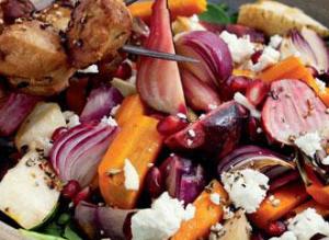 salat af bagte rodfrugter